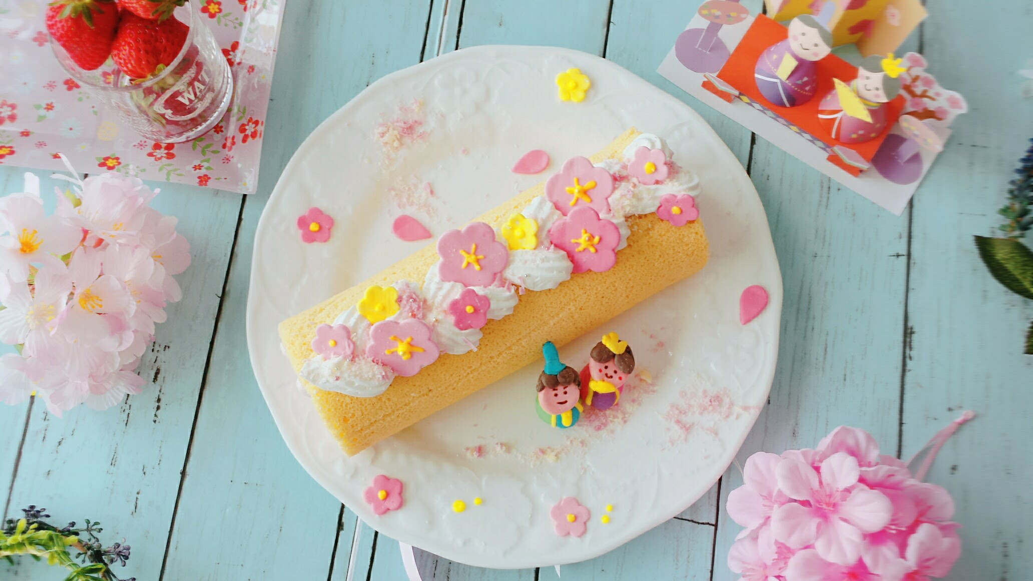 ひな祭りのロールケーキの作り方