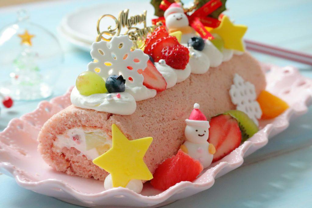 クリスマスロールケーキ デコレーション